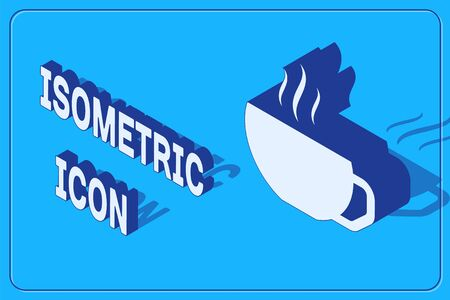 Isometric Coffee cup flat icon isolated on blue background. Tea cup. Hot drink coffee. Vector Illustration Illusztráció