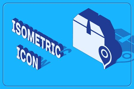 Isometric Location with cardboard box icon isolated on blue background. Delivery services, logistic and transportation, relocation, distribution. Vector Illustration 矢量图像