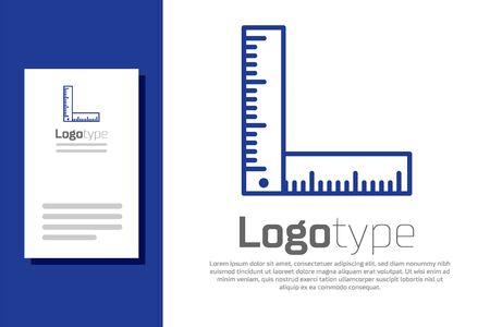 Blue Folding ruler icon isolated on white background. Logo design template element. Vector Illustration