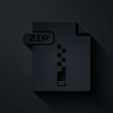 Paper cut ZIP file document. Download zip button icon isolated on black background. ZIP file symbol. Paper art style. Vector Illustration