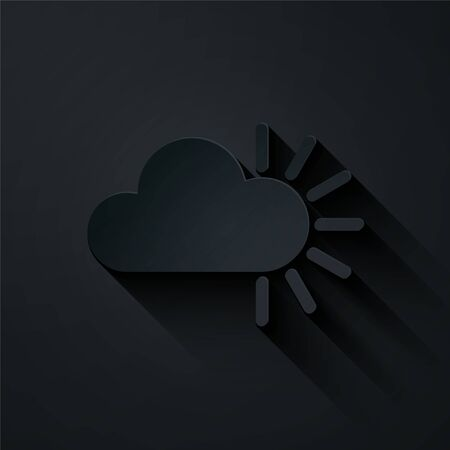 Paper cut Cloudy icon isolated on black background. Paper art style. Vector Illustration