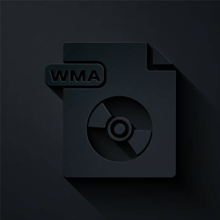 Paper cut WMA file document. Download wma button icon isolated on black background. WMA file symbol. Wma music format sign. Paper art style. Vector Illustration