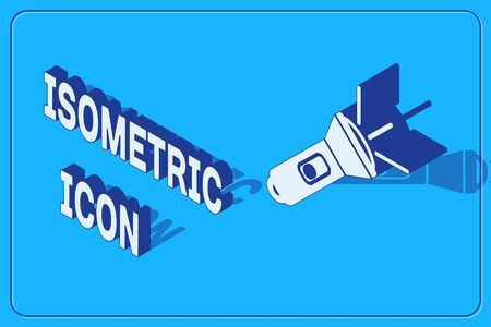 Isometric Flashlight icon isolated on blue background. Vector Illustration Vettoriali