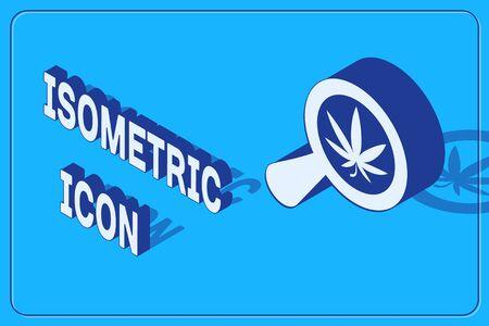 Isometric Magnifying glass and medical marijuana or cannabis leaf icon isolated on blue background. Hemp symbol. Vector Illustration