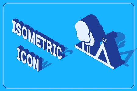 Isometric Tourist tent with flag icon isolated on blue background. Camping symbol. Vector Illustration Illustration