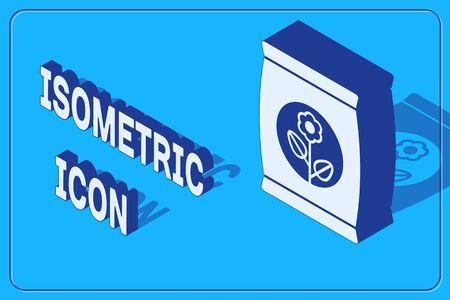 Isometric Fertilizer bag icon isolated on blue background. Vector Illustration