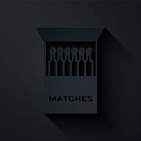 Paper cut Open matchbox and matches icon isolated on black background. Paper art style. Vector Illustration