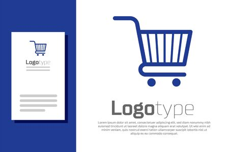 Blue Shopping cart icon isolated on white background. Online buying concept. Delivery service sign. Supermarket basket symbol. Stock Illustratie