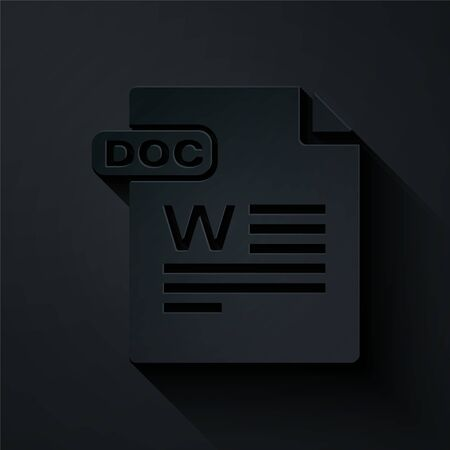 Paper cut DOC file document. Download doc button icon isolated on black background. DOC file extension symbol. Paper art style. Vector Illustration