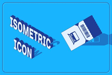 Isometric Train ticket icon isolated on blue background. Travel by railway. Vector Illustration