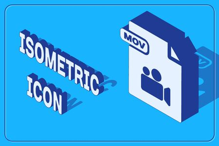 Isometric MOV file document. Download mov button icon isolated on blue background. MOV file symbol. Audio and video collection. Vector Illustration 일러스트