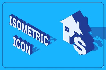Isometric House with dollar symbol icon isolated on blue background. Home and money. Real estate concept. Vector Illustration Illusztráció