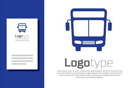 Blue Bus icon isolated on white background. Transportation concept. Bus tour transport sign. Tourism or public vehicle symbol. Logo design template element. Vector Illustration Çizim