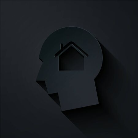 Paper cut Man dreaming about buying a new house icon isolated on black background. Paper art style. Vector Illustration Illusztráció