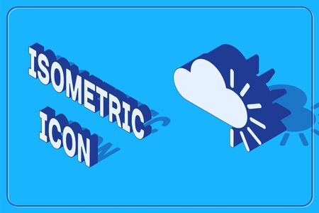 Isometric Cloudy icon isolated on blue background. Vector Illustration