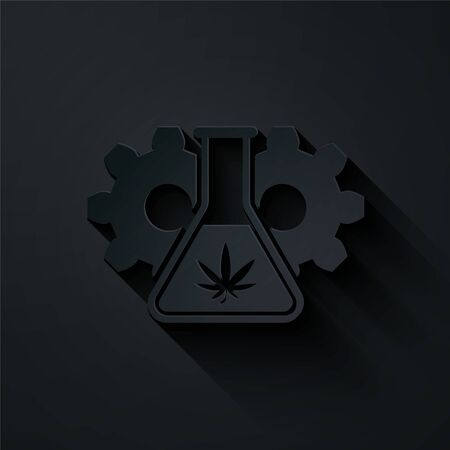 Paper cut Chemical test tube with marijuana or cannabis leaf icon isolated on black background. Research concept. Laboratory CBD oil concept. Paper art style. Vector Illustration