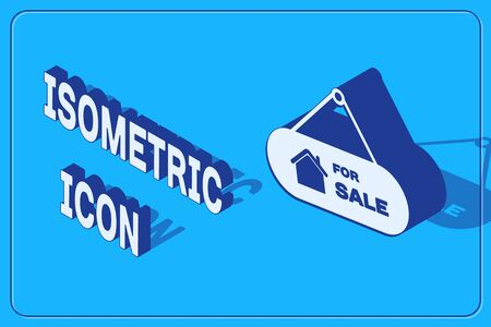 Isometric Hanging sign with text For Sale icon isolated on blue background. Signboard with text For Sale. Vector Illustration