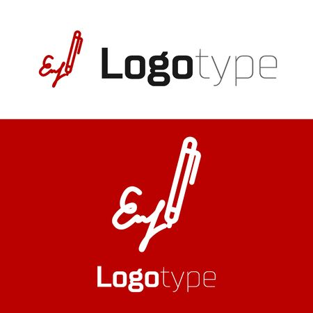 Red Signature line icon isolated on white background. Pen and undersign, underwrite, ratify symbol.
