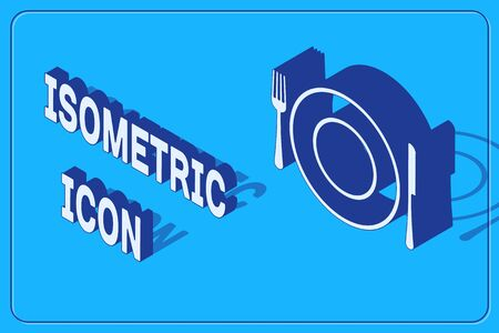 Isometric Plate, fork and knife icon isolated on blue background. Cutlery symbol. Restaurant sign. Vector Illustration Illusztráció