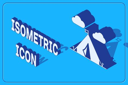 Isometric Tourist tent with flag icon isolated on blue background. Camping symbol. Vector Illustration 矢量图像