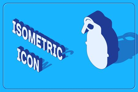 Isometric Hand grenade icon isolated on blue background. Bomb explosion. Vector Illustration