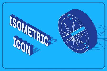 Isometric Stop marijuana or cannabis leaf icon isolated on blue background. No smoking marijuana. Hemp symbol. Vector Illustration Ilustração