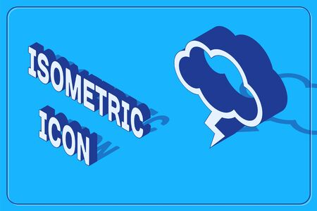 Isometric Storm icon isolated on blue background. Cloud and lightning sign. Weather icon of storm. Vector Illustration