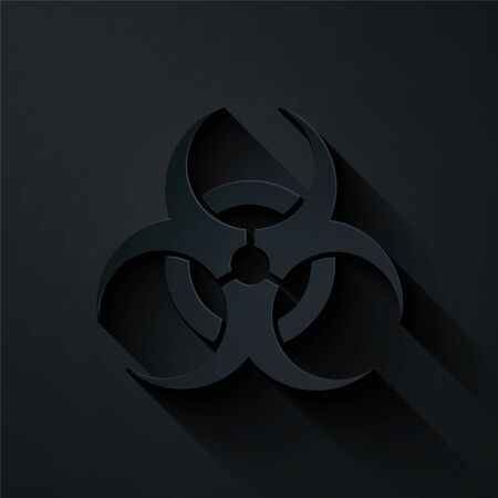 Paper cut Biohazard symbol icon isolated on black background. Paper art style. Vector Illustration Vectores