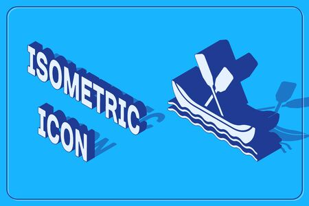 Isometric Rafting boat icon isolated on blue background. Kayak with paddles. Water sports, extreme sports, holiday, vacation, team building. Vector Illustration Иллюстрация