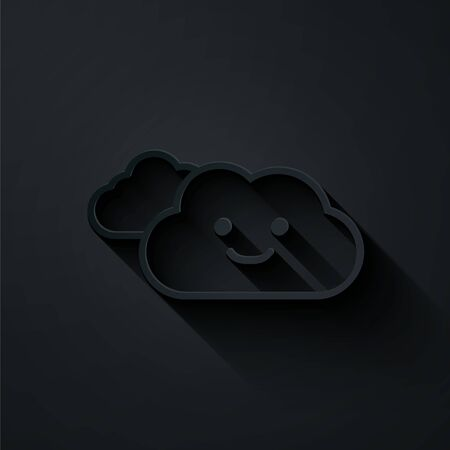 Paper cut Cloud icon isolated on black background. Paper art style. Vector Illustration