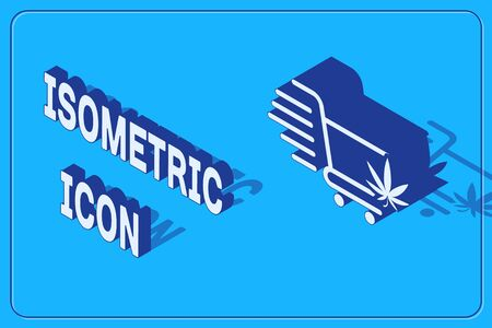 Isometric Shopping cart with marijuana or cannabis leaf icon isolated on blue background. Online buying. Delivery service. Supermarket basket. Vector Illustration Stock Illustratie