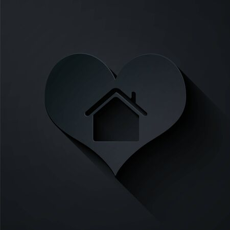 Paper cut House with heart shape icon isolated on black background. Love home symbol. Family, real estate and realty. Paper art style. Vector Illustration