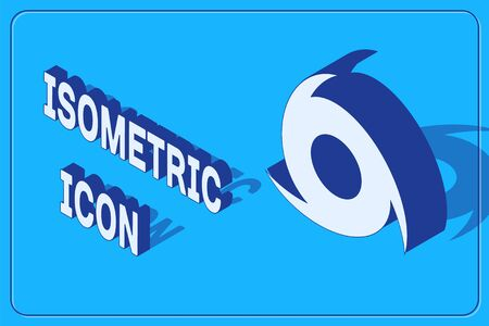 Isometric Tornado icon isolated on blue background. Cyclone, whirlwind, storm funnel, hurricane wind or twister weather icon. Vector Illustration Ilustração