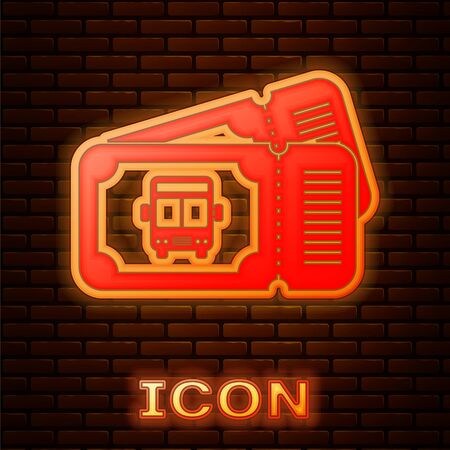 Glowing neon Bus ticket icon isolated on brick wall background. Public transport ticket. Vector Illustration Illustration
