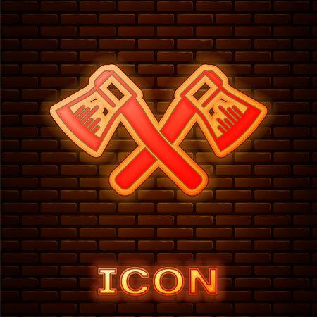 Glowing neon Crossed wooden axe icon isolated on brick wall background. Lumberjack axe. Vector Illustration