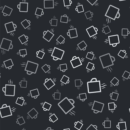 Grey Coffee cup flat icon isolated seamless pattern on black background. Tea cup. Hot drink coffee. Vector Illustration