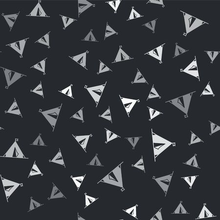 Grey Tourist tent with flag icon isolated seamless pattern on black background. Camping symbol. Vector Illustration