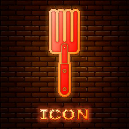 Glowing neon Garden fork icon isolated on brick wall background. Pitchfork icon. Tool for horticulture, agriculture, farming. Vector Illustration
