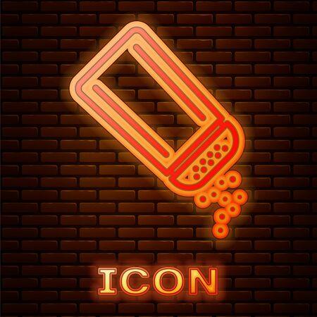 Neon incandescente sale e pepe icona isolato su sfondo muro di mattoni. Spezie da cucina. illustrazione vettoriale Vettoriali
