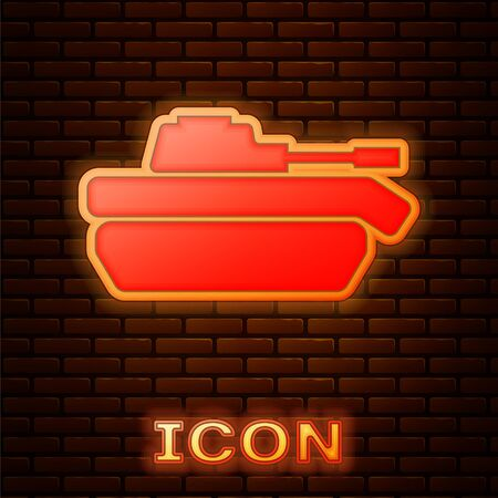 Glowing neon Military tank icon isolated on brick wall background. Vector Illustration