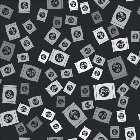 Grey Fertilizer bag icon isolated seamless pattern on black background. Vector Illustration Vettoriali