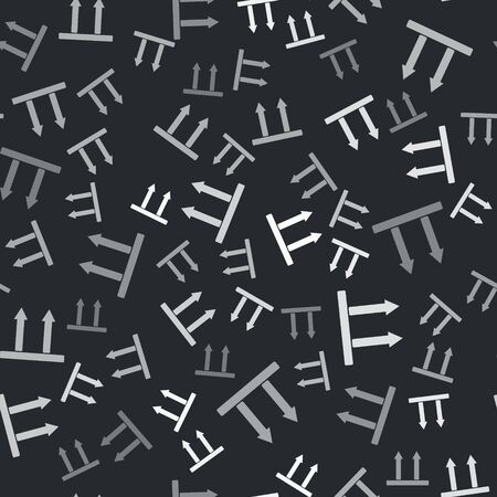 Grey This side up icon isolated seamless pattern on black background. Two arrows indicating top side of packaging. Cargo handled so these arrows always point up. Vector Illustration Banque d'images - 135356640