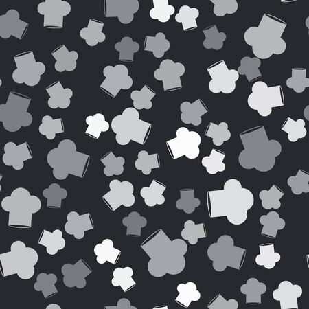 Grey Chef hat icon isolated seamless pattern on black background. Cooking symbol. Cooks hat. Vector Illustration
