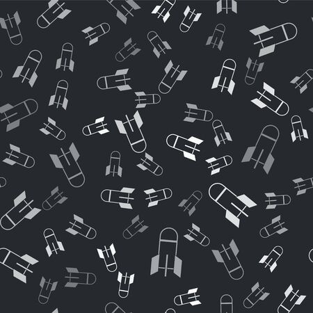 Grey Aviation bomb icon isolated seamless pattern on black background. Rocket bomb flies down. Vector Illustration