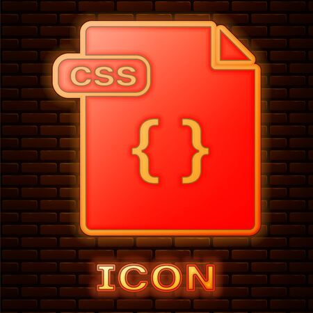 Glowing neon CSS file document. Download css button icon isolated on brick wall background. CSS file symbol. Vector Illustration Stock Vector - 135356839