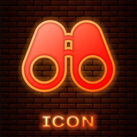 Glowing neon Binoculars icon isolated on brick wall background. Find software sign. Spy equipment symbol. Vector Illustration Çizim