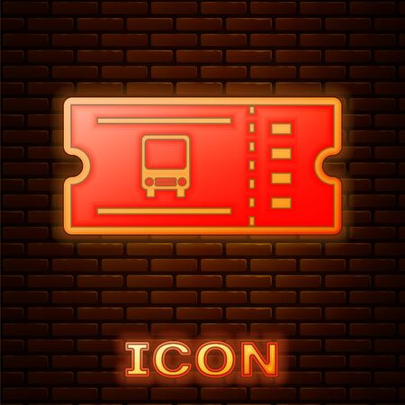 Glowing neon Bus ticket icon isolated on brick wall background. Public transport ticket. Vector Illustration