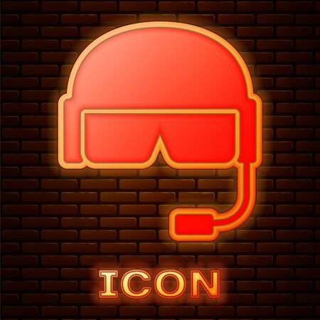 Glowing neon Military helmet icon isolated on brick wall background. Army hat symbol of defense and protect. Protective hat. Vector Illustration