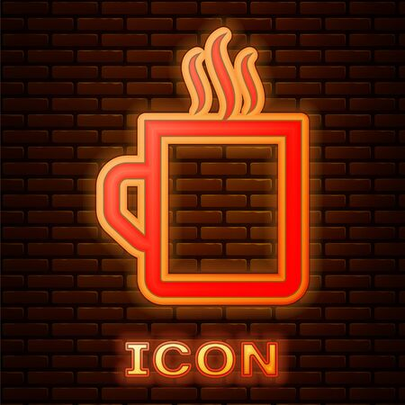 Glowing neon Coffee cup flat icon isolated on brick wall background. Tea cup. Hot drink coffee. Vector Illustration