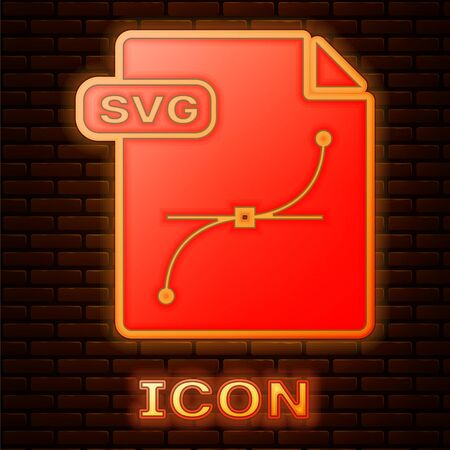 Glowing neon SVG file document. Download svg button icon isolated on brick wall background. SVG file symbol. Vector Illustration